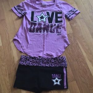 Matching cheetah purple love dance set